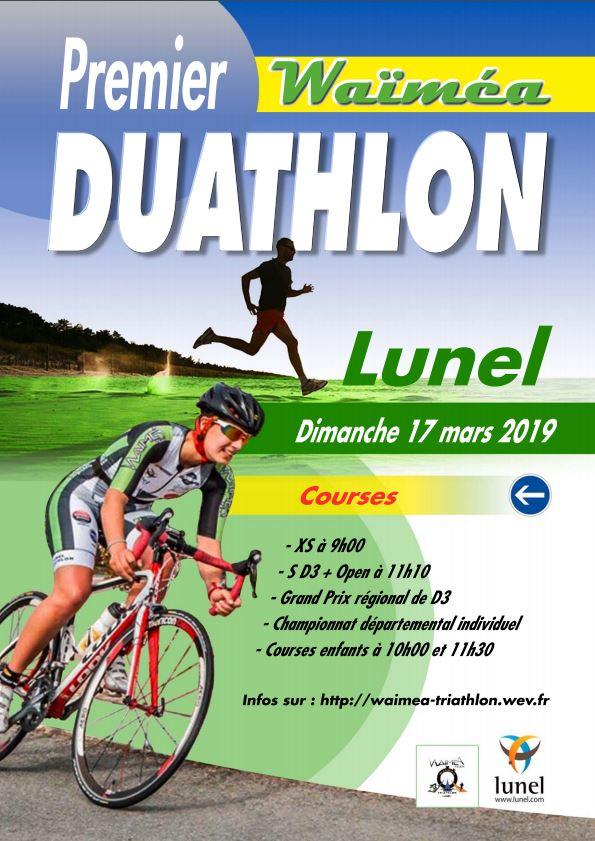 Affiche du duathlon de Lunel 2019